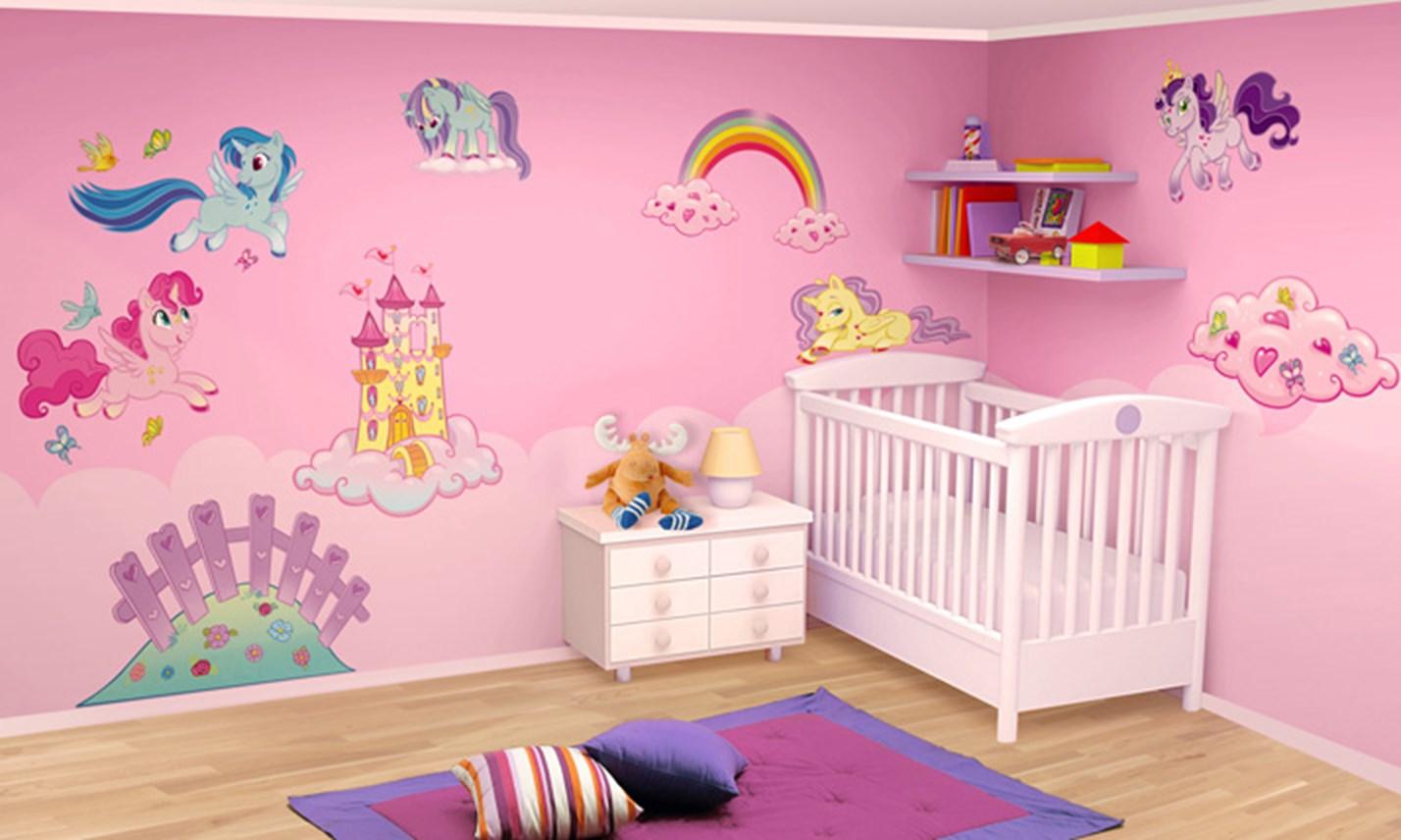 Stickers murali bambini cameretta i mini unicorni - Decorazioni murali camerette bambini ...